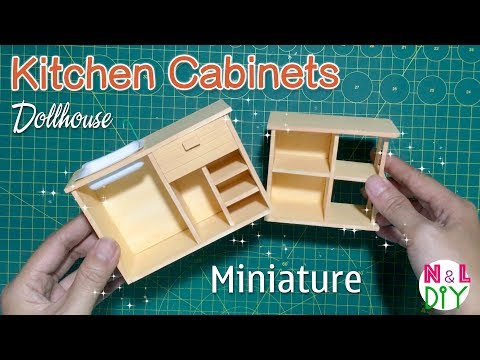 DIY Miniature Kitchen Cabinets | How to make Kitchen cabinets for your Dollhouse