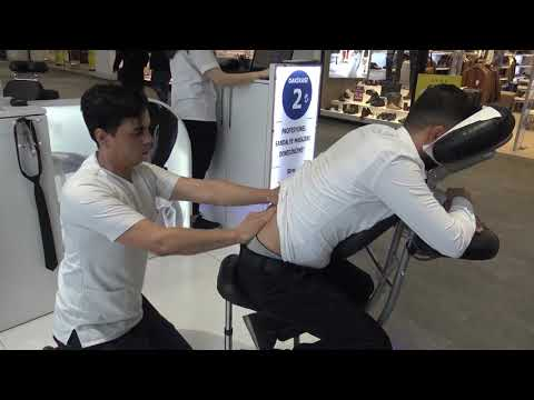 ASMR professional physiotherapy chair massage + foot, back, arm, leg, neck, face