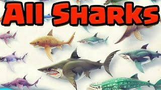 ALL BIG SHARKS UNLOCKED PART 2 - Hungry Shark World (HSW) - GAMEPLAY OF EVERY SHARK!