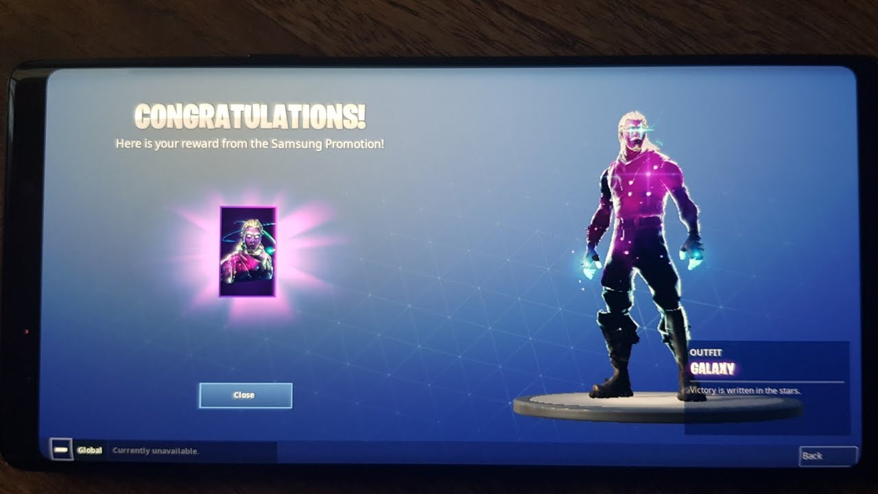 samsung galaxy note 9 galaxy skin fortnite gameplay - note 9 fortnite skin still available