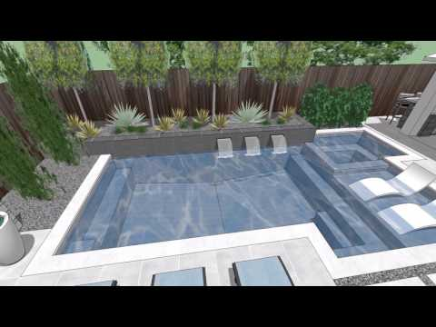 L Streets Dallas Modern Swimming Pool, Outdoor Kitchen & Living
