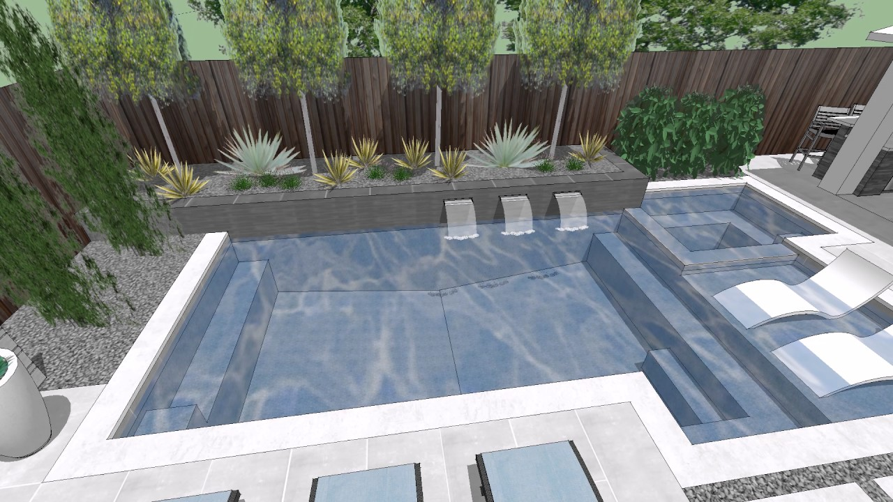 L Streets Dallas Modern Swimming Pool, Outdoor Kitchen ... on Rk Outdoor Living id=49860