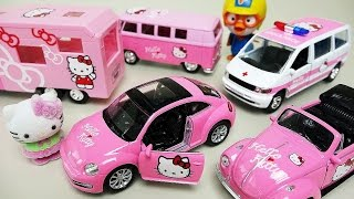Hello Kitty car toys camping bus and Ambulance Pororo Robocar Poli toys