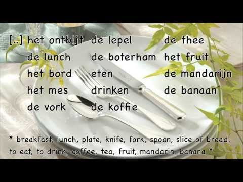 Learn Dutch: food and drinks (1/2) / Dutch lesson / words sentences / Nederlandse les eten drinken
