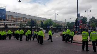 UK Police under attack at protest