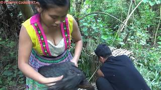 Primitive Technology - Make primitive trap and cooking chicken in bamboo - Eating delicious