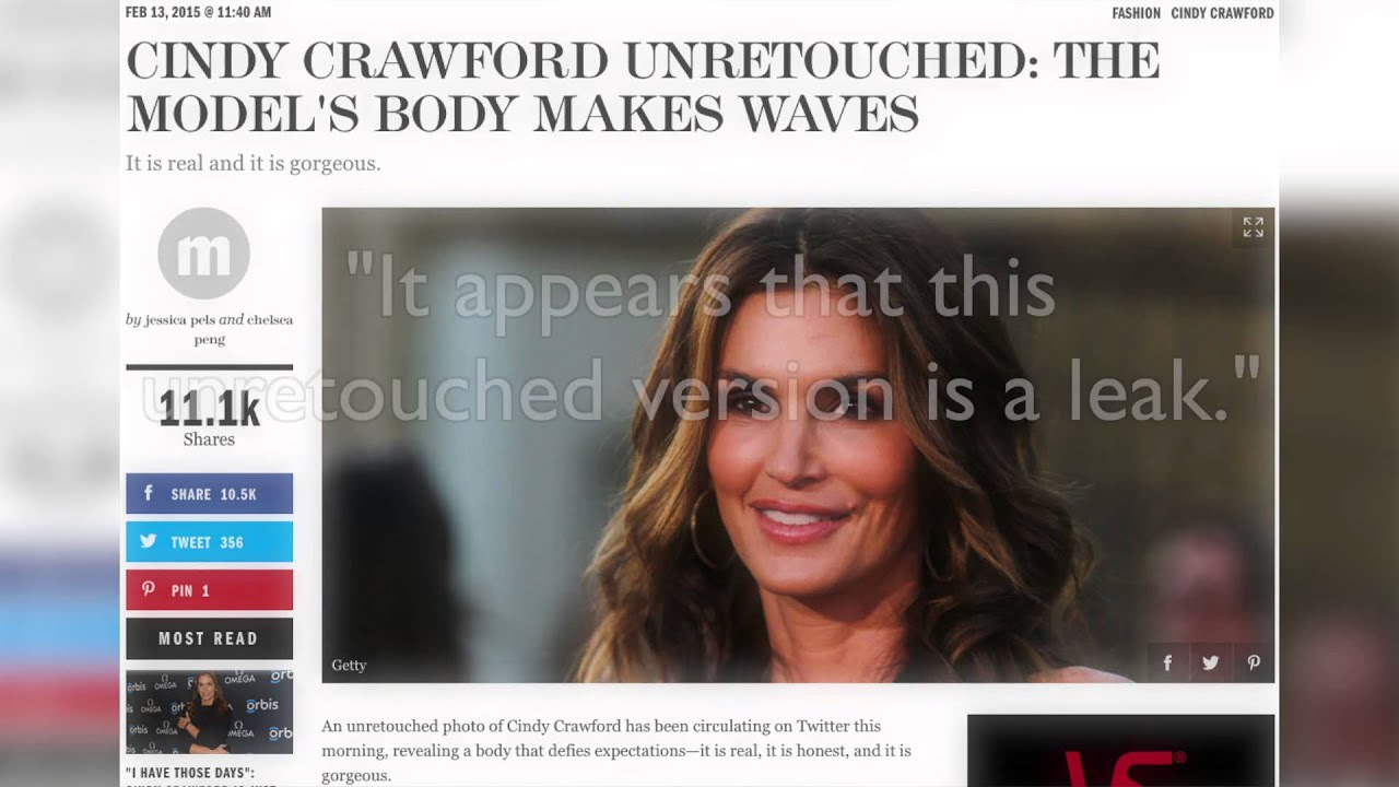 Unretouched Cindy Crawford Photo Might Be A Fake Youtube