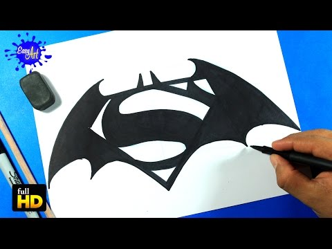 BATMAN VS SUPERMAN /How to draw Batman Vs Superman/Como dibujar logo Batman Vs Superman