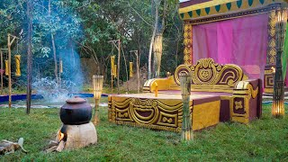 Girl Living Off The Grid, Build The Most Beautiful Out Door Living Room Near Swimming Pool