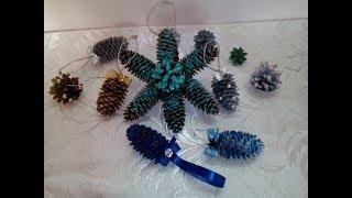 Новогодние игрушки на ёлку из шишек