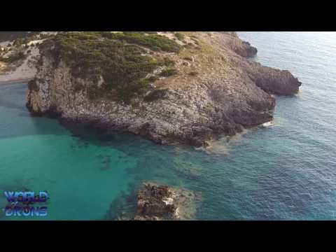 Voidokilia Beach Place of Particular Natural Beauty Aerial Drone Aerial Video Greece