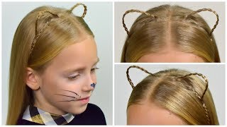 DIY Halloween (✯◡✯) Cat Ears (Kitty Ears) Hairstyle & Look (Party hairstyle  #15)