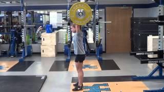 Hang clean + front squat + push press