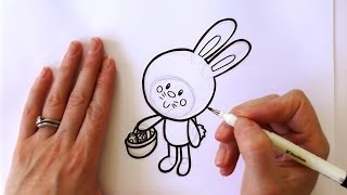 How to Draw a Cartoon Easter Bunny Holding a Basket of Easter Eggs