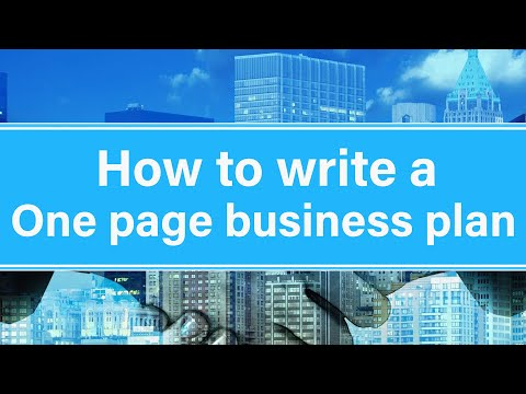How To Write A One Page Business Plan For Your Own Business In 2020