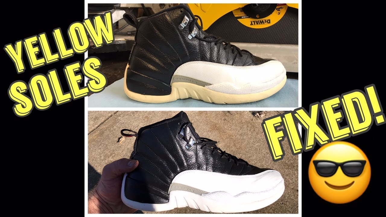 cheap for discount f0431 36375 Yellow Soles on Jordan 12 Playoffs - Fixed OMG! - ICY WHITE!