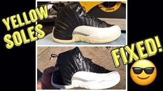 Yellow Soles on Jordan 12 Playoffs - Fixed OMG! - ICY WHITE!
