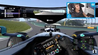 George Russell battles his AI on F1 2020