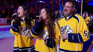 Nashville hyped up as Vince Gill & his daughters sing national anthem