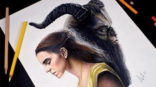 Dibujo de La Bella y La Bestia realista | Beauty and the Beast | Emma Watson