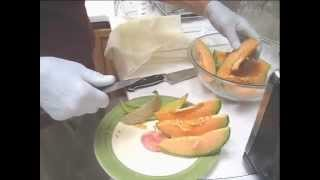 Making Cantaloupe Juice On A Norwalk Juicer With Bamboo Liners