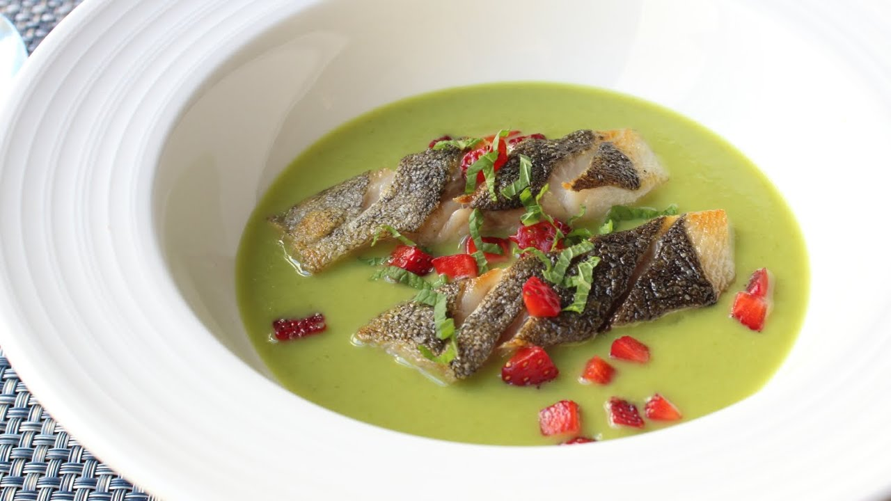 Spring Pea Green Curry with Black Cod and Strawberries - Green Curry Butterfish Recipe
