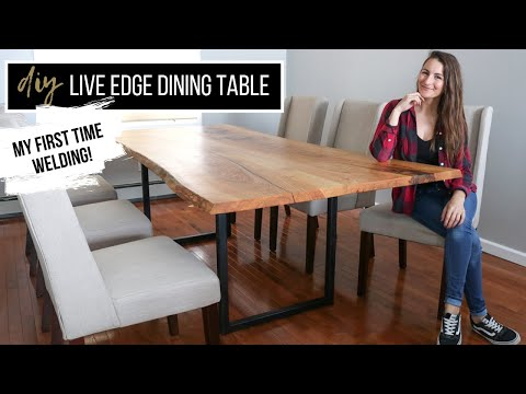 DIY Live Edge Dining Table With Metal Legs | MY FIRST TIME WELDING