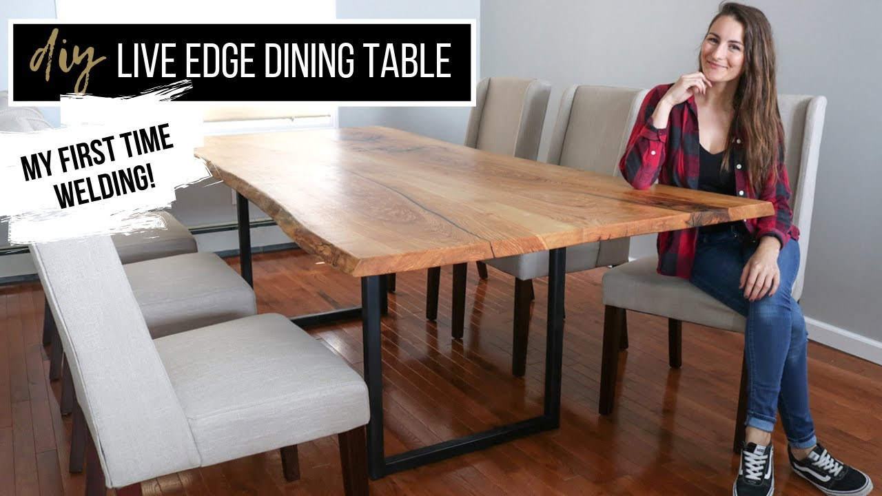 diy live edge dining table with metal legs my first time welding