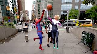 Random New Yorkers Tip Off Against Each Other All Around Time Square | NBA Tip Off