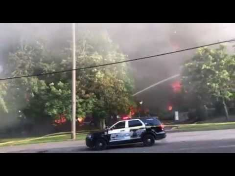Massive fire of tire plant in Lockport, NY - Video 4