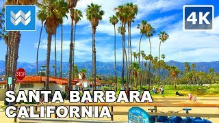 Walking from State St to Stearns Wharf in Downtown Santa Barbara, California | Travel Guide 🎧 【4K】