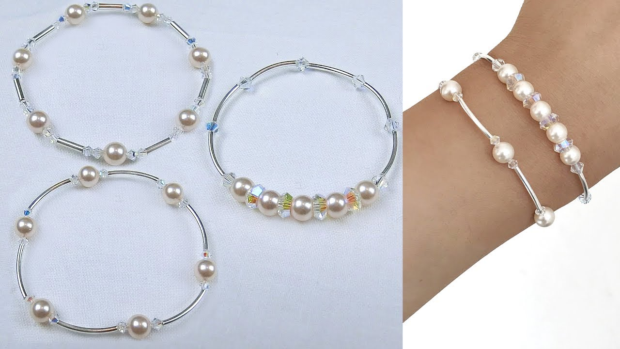 c7339825a4616 3 Easy Beading Pearl and Crystal Bangle Style Bracelets