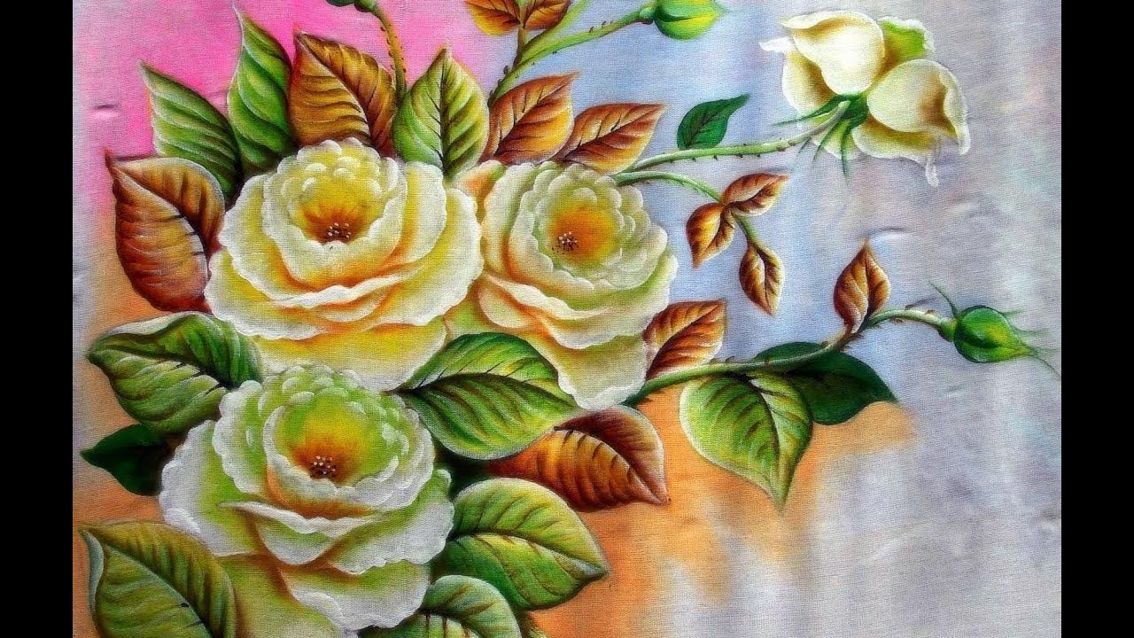 Como pintar rosas brancas pintura em tecido youtube for Pinturas para pintar