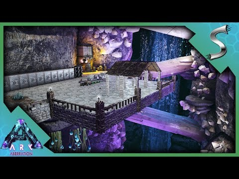CLIFF BASE BUILDING! OUR NEW BASE IN THE BIO-LUMINESCENT AREA - Ark: Aberration [DLC Gameplay E19]