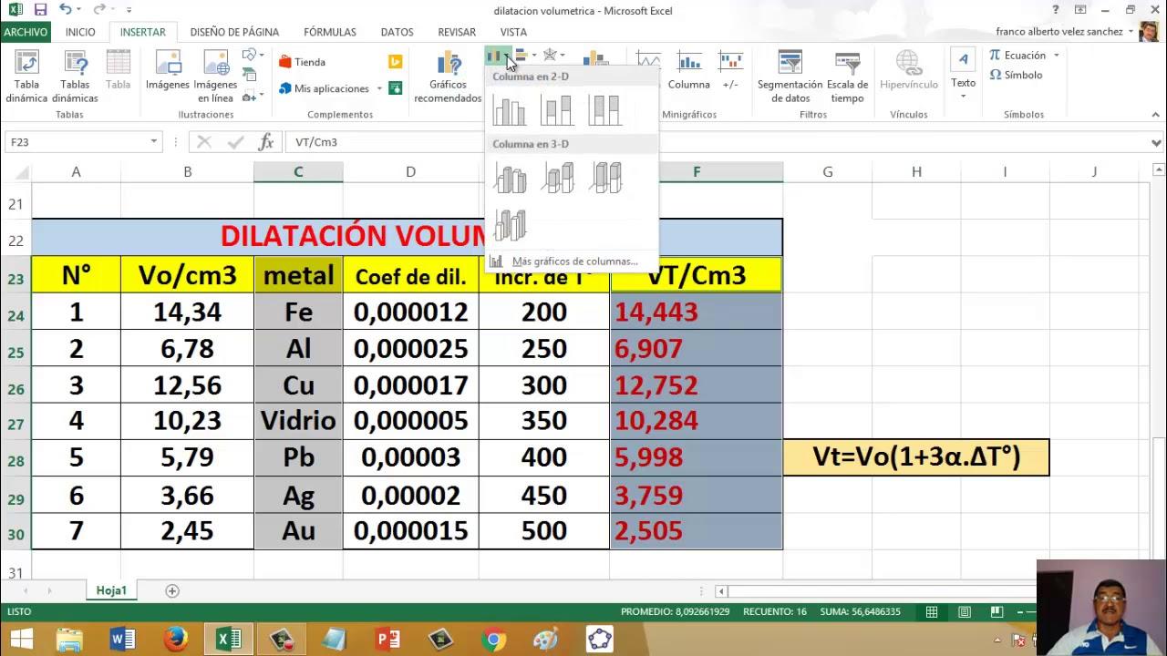 Cálculo de Dilatación Lineal, Superficial y Volumétrica en Excel ...