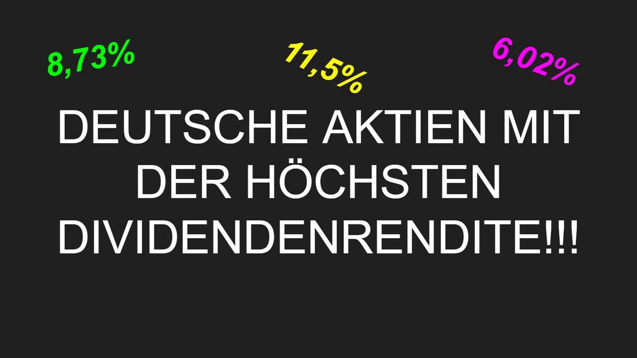 aktien mit höchster dividendenrendite deutschland