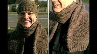 Оригинальный Мужской шарф спицами для НОВИЧКОВ!!! ПОДРОБНЫЙ МК!! Просто!