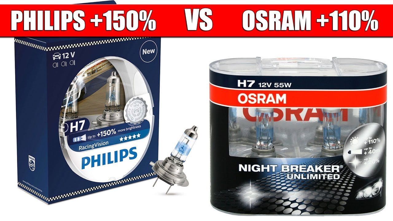 philips racing vision 150 vs osram night breaker unlimited 110 youtube. Black Bedroom Furniture Sets. Home Design Ideas