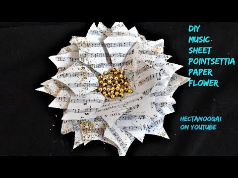 MUSIC SHEET POINTSETTIA, Paper crafts, Christmas ornaments, holiday decor