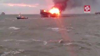 شاهد..حريق منصة نفط في بحر قزوين