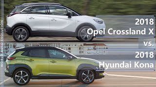 2018 Opel Crossland X vs 2018 Hyundai Kona (technical comparison)