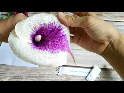 Paper Calla Lily flower- Easy Tutorial How to make crepe paper flower