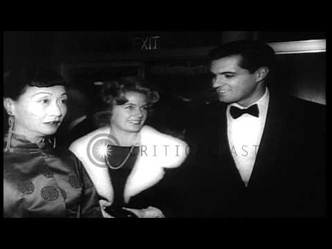 Hollywood film stars Doris Day, John Gavin, and the crew arrive at the premiere o...HD Stock Footage