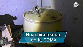 Las autoridades encontraron bidones conectados con mangueras y una adecuación de tubos sobre un muro, por donde huachicoleaban el líquido en la colonia Anáhuac, Los Manzanos