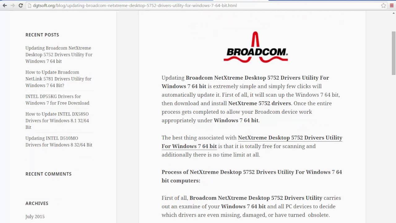 BROADCOM 5752 WINDOWS 7 X64 TREIBER
