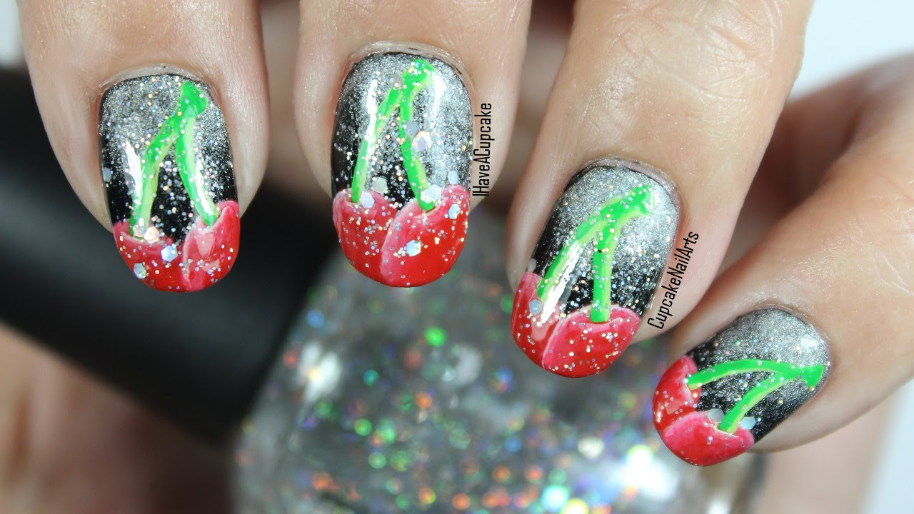 Fruit Nail Art - Cherry Sparkle Nails - YouTube