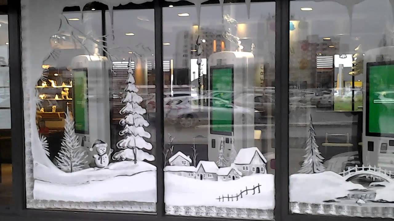D coration vitrines de no l pour mcdonald 39 s lille youtube - Decoration murale pour noel ...