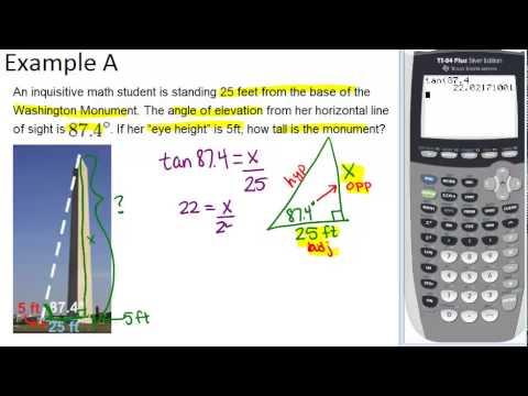Chapter 5.8- Primary Trigonometric Ratios (Word Problems)  |Trigonometry Word Problems
