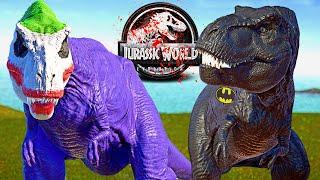 BATMAN vs JOKER Tyrannosaurus REX, Scorpius Rex (E750) Dinosaurs Fight 🌍 JURASSIC WORLD EVOLUTION