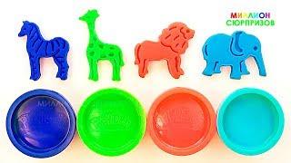 Учим Цвета с пластилином Плей до | Учим названия животных для детей | Лепим  из пластилина Плей до